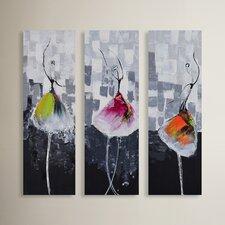 3 Piece Painting Print Wrapped Canvas Art Set