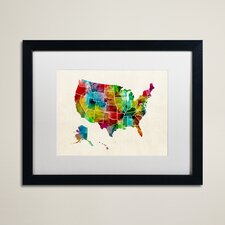 United States Watercolor Map 2 by Michael Tompsett Framed Graphic Art