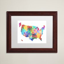 United States Typography Map 2 by Michael Tompsett Framed Graphic Art