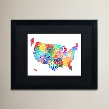 'United States Typography Map 2' by Michael Tompsett Framed Graphic Art