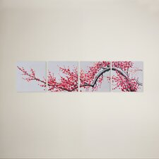 Extension of Asian Branch 4 Piece Original Painting on Wrapped Canvas Set