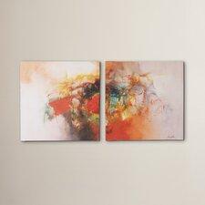 2 Piece Color Burst Wall Art Painting Print Set