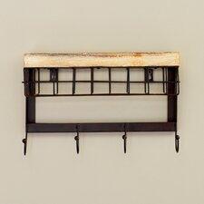 Modern 4 Hook Wall Rack with Basket