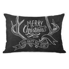 Merry Christmas Antlers Lumbar Pillow