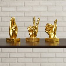 3 Piece Gold Metallic Hand Figurine Set