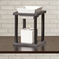 Contemporary Ceramic and Wood Tealight Oil Warmer (Set of 2)