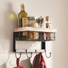 Modern 4 Hook Wall Rack with Basket