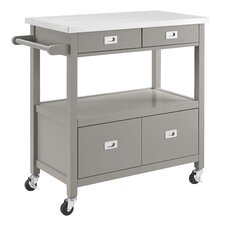 Aubuchon Kitchen Island with Stainless Steel Top
