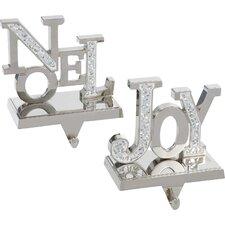 2 Piece Joy and Noel Stocking Holder Set