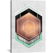 Hexagon Abstract Graphic Art on Wrapped Canvas