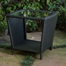 Austral Outdoor Wicker Side Table with Glass Top