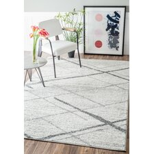 Azha Broken Lattice Light Gray Area Rug