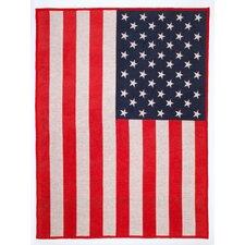 American Flag Cotton Blend Blanket