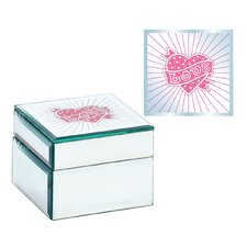 Square Heart Design Jewelry Box