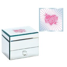 Square 1 Drawer Heart Design Jewelry Box