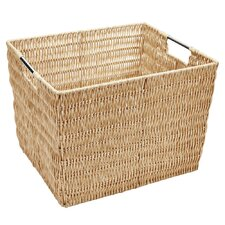 Large Natural Faux Rattan Vertical Weave Tote