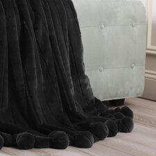 Luxe Mink Faux Fur Pom Pom Throw Blanket