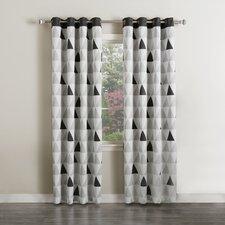 Mixed Triangle Print Room Darkening Curtain Panels (Set of 2)