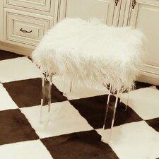 Mongolian Lamb Faux Fur Acrylic Square Leg Stool