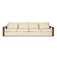 Wood Arm Rest Leather Sofa