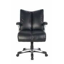 Mid-Back Bonded Leather Executive Chair with Thick Padded Backrest and Seat