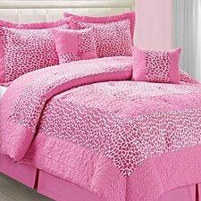 Safari Pink Small Giraffe 6 Piece Comforter Set