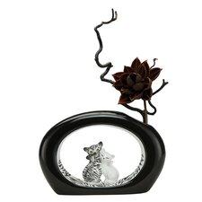 Vase Zebra Kitty in Schwarz