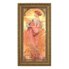 Gerahmtes Wandbild Die Jahreszeiten 1900 von Alphonse Mucha - 48 x 25 cm