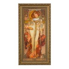 Gerahmtes Wandbild Herbst Die Jahreszeiten 1900 von Alphonse Mucha - 48 x 25 cm