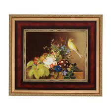 Gerahmtes Wandbild Stillleben mit Kanarienvogel von Johan Laurentz Jensen - 51,5 x 59 cm