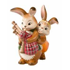 Figur Hasenpaar mit Dudelsack Ostern