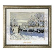 """Gerahmtes Glasbild """"Winterlandschaft"""" von Claude Monet, Kunstdruck"""