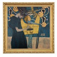 """Gerahmtes Wandbild """"Die Musik in Bunt"""" von Gustav Klimt, Kunstdruck"""