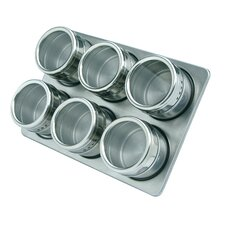 7 Piece Magnetic Stainless Steel Spice Jar and Rack Set
