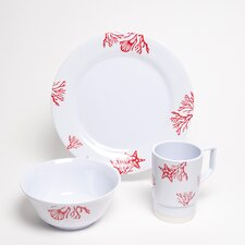 Decorated Coral 12 Piece Dinnerware Gift Set
