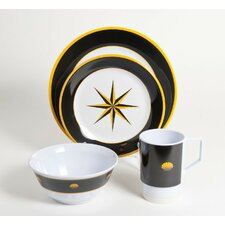 Decorated Melamine Compass 24 Piece Dinnerware Set