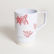 Decorated Coral Non-skid 12 oz. Nesting Mug (Set of 4)
