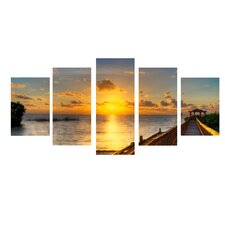 'Key's Sunrise' by Bruce Bain 5 Piece Photographic Print on Wrapped Canvas Set