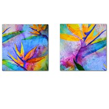 Tropical Birds of Paradise 2 Piece Graphic Art on Canvas Set