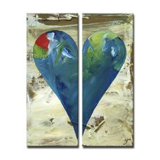 "Zane Heartwork ""Deborah"" 2 Piece Painting Print on Wrapped Canvas Set"