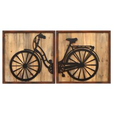 2 Piece Retro Bicycle Panels Wall Décor Set