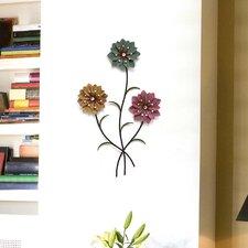 Whimsical 3 Stem Flowers Wall Décor