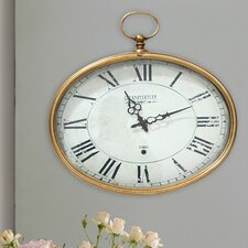 Stratton Home Décor Gold Oval Wall Clock