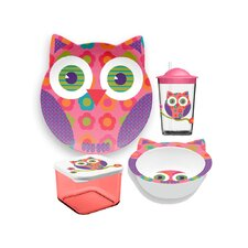 Friendly Faces New Zoo Owl Childrens 4 Piece Dinnerware Set