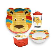 Friendly Faces New Zoo Lion Childrens 4 Piece Dinnerware Set