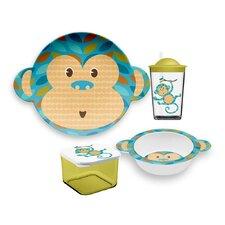 Friendly Faces New Zoo Monkey Childrens 4 Piece Dinnerware Set