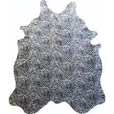 Stenciled Baby Zebra Brazilian Cowhide Black/White Area Rug