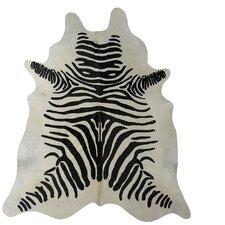 Stenciled Zebra Brazilian Cowhide Black/White Area Rug