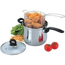 3-Piece Deep Frying Pan Set with Lid