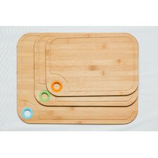 3 Piece Bamboo Cutting Board Set with Silicone Ring